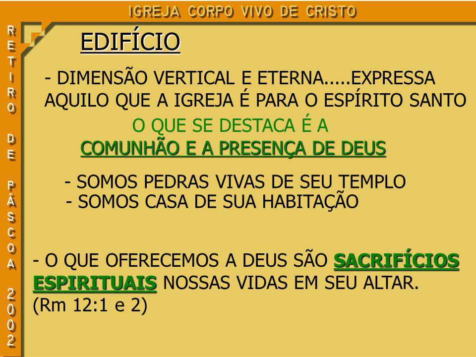 EDIFÍCIO - DIMENSÃO VERTICAL E ETERNA.....EXPRESSA AQUILO QUE A IGREJA É PARA O ESPÍRITO SANTO O QUE SE DESTACA É A COMUNHÃO E A PRESENÇA DE DEUS SACRIFÍCIOS ESPIRITUAIS - O QUE OFERECEMOS A DEUS SÃO SACRIFÍCIOS ESPIRITUAIS NOSSAS VIDAS EM SEU ALTAR.