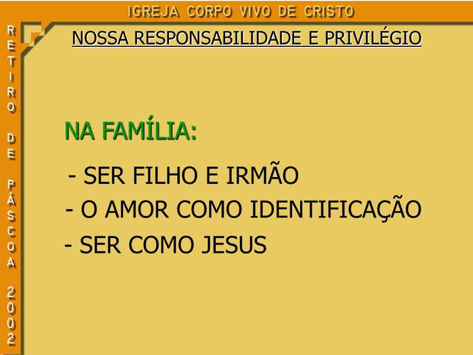 NOSSA RESPONSABILIDADE E PRIVILÉGIO NA FAMÍLIA: - SER FILHO E IRMÃO - O AMOR COMO IDENTIFICAÇÃO - SER COMO JESUS