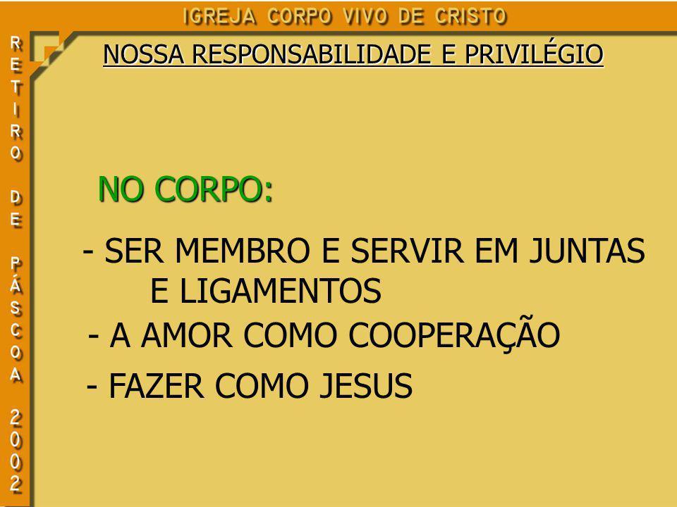 NO CORPO: - SER MEMBRO E SERVIR EM JUNTAS E LIGAMENTOS - A AMOR COMO COOPERAÇÃO - FAZER COMO JESUS NOSSA RESPONSABILIDADE E PRIVILÉGIO