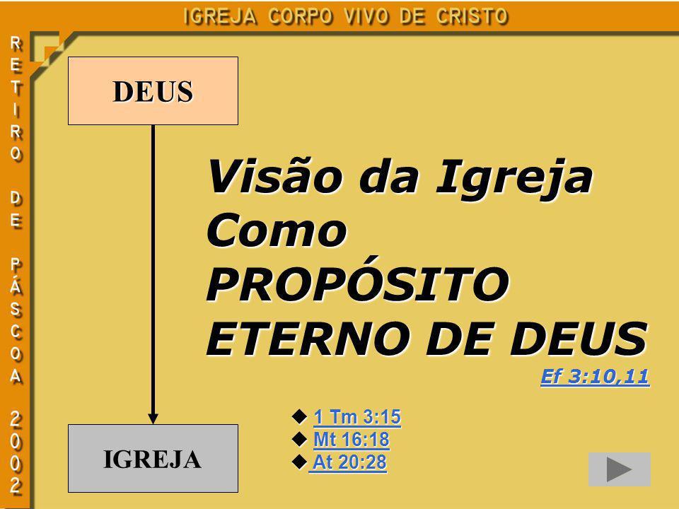 DEUS IGREJA Visão da Igreja ComoPROPÓSITO ETERNO DE DEUS Ef 3:10,11 Ef 3:10,11 u 1 Tm 3:15 1 Tm 3:151 Tm 3:15 u Mt 16:18 Mt 16:18Mt 16:18 u At 20:28 A