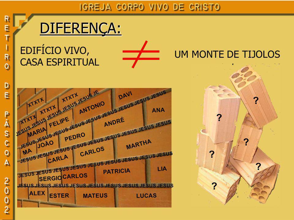 DIFERENÇA: EDIFÍCIO VIVO, CASA ESPIRITUAL UM MONTE DE TIJOLOS .