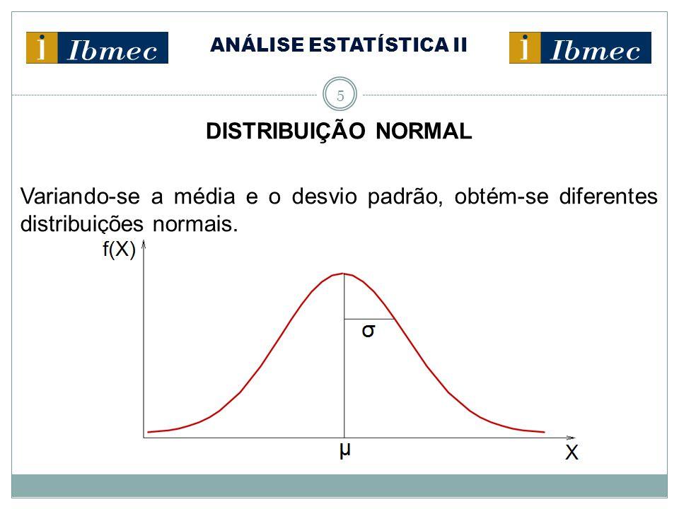 ANÁLISE ESTATÍSTICA II 5 DISTRIBUIÇÃO NORMAL Variando-se a média e o desvio padrão, obtém-se diferentes distribuições normais.