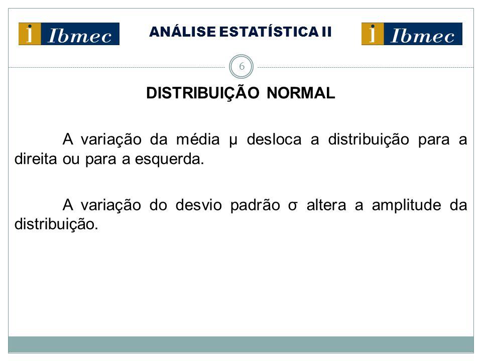 ANÁLISE ESTATÍSTICA II 6 DISTRIBUIÇÃO NORMAL A variação da média μ desloca a distribuição para a direita ou para a esquerda. A variação do desvio padr