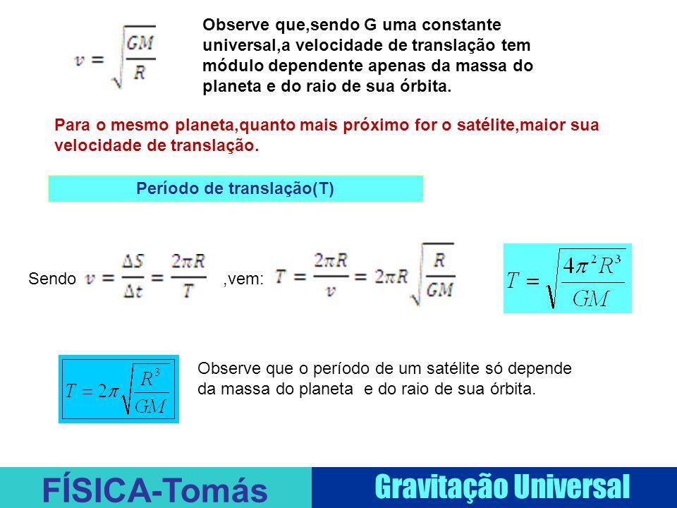FÍSICA-Tomás Gravitação Universal Observe que,sendo G uma constante universal,a velocidade de translação tem módulo dependente apenas da massa do planeta e do raio de sua órbita.
