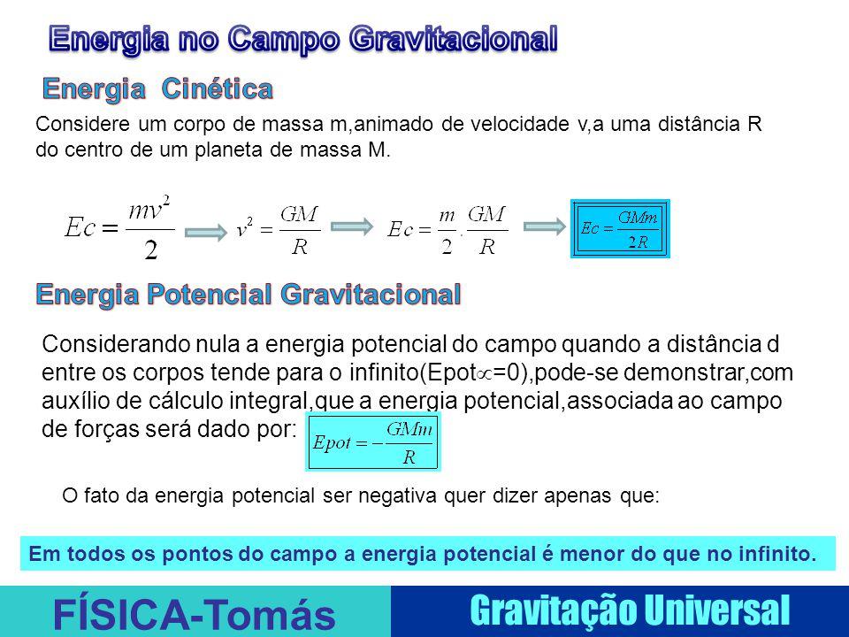 FÍSICA-Tomás Gravitação Universal Considerando nula a energia potencial do campo quando a distância d entre os corpos tende para o infinito(Epot  =0),pode-se demonstrar,com auxílio de cálculo integral,que a energia potencial,associada ao campo de forças será dado por: Considere um corpo de massa m,animado de velocidade v,a uma distância R do centro de um planeta de massa M.