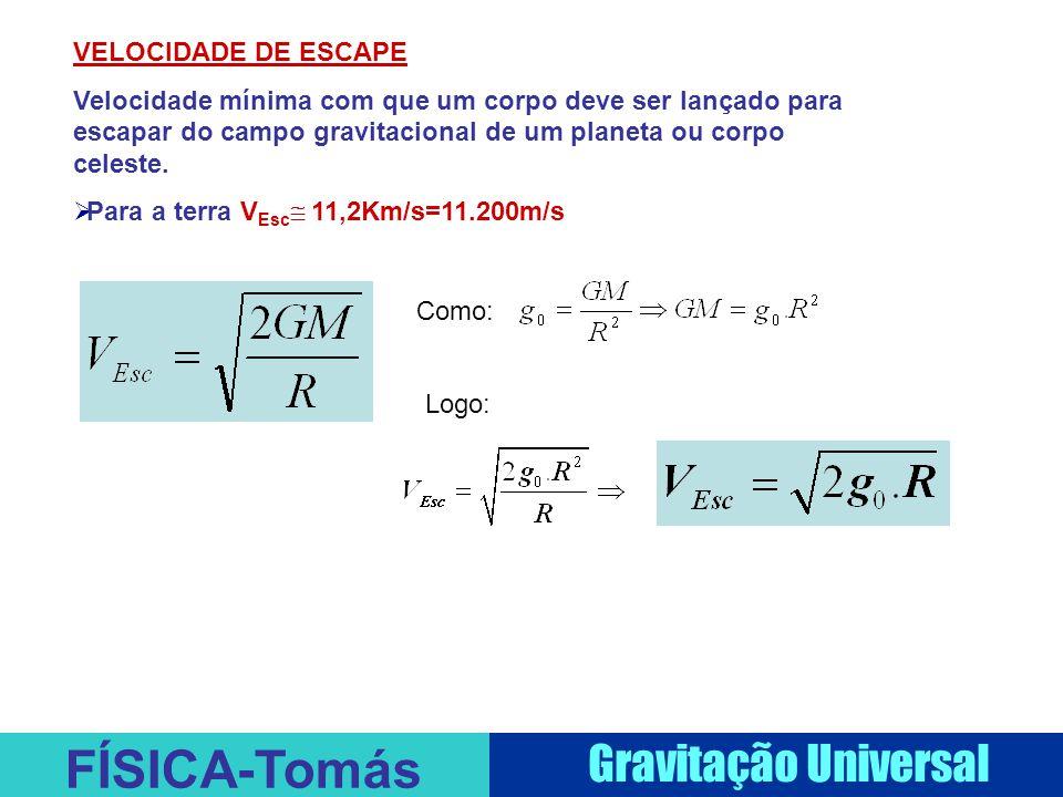 FÍSICA-Tomás Gravitação Universal VELOCIDADE DE ESCAPE Velocidade mínima com que um corpo deve ser lançado para escapar do campo gravitacional de um p