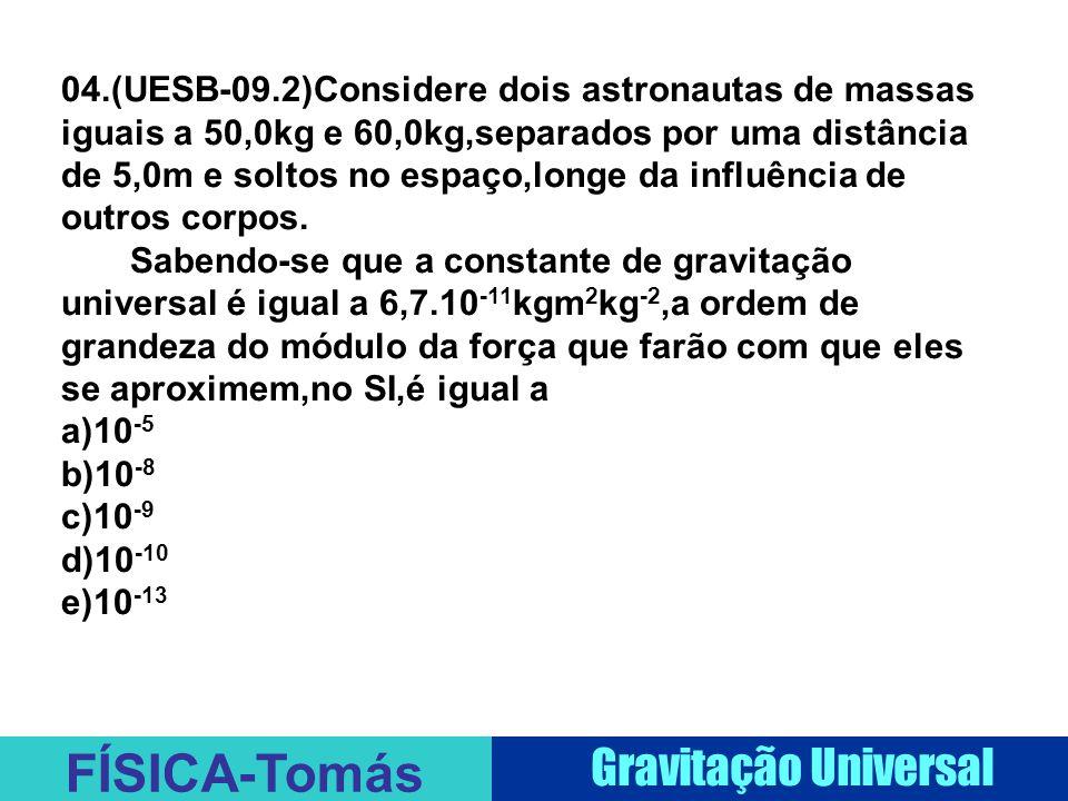 FÍSICA-Tomás Gravitação Universal 04.(UESB-09.2)Considere dois astronautas de massas iguais a 50,0kg e 60,0kg,separados por uma distância de 5,0m e soltos no espaço,longe da influência de outros corpos.