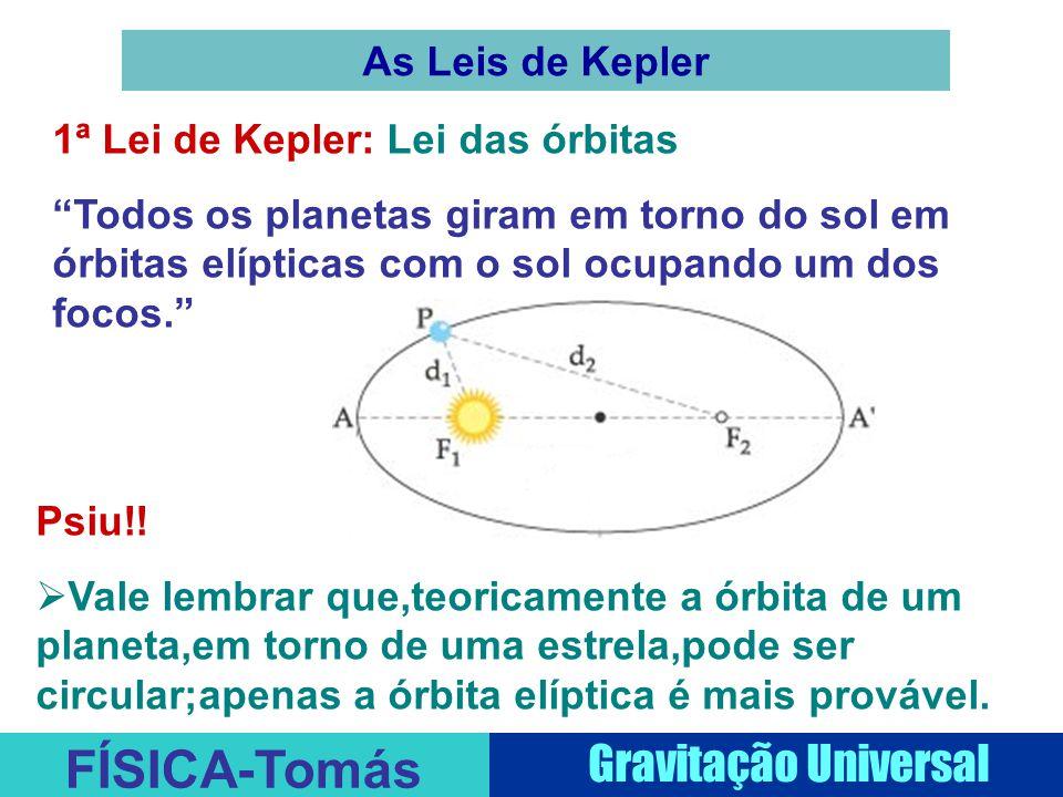 FÍSICA-Tomás Gravitação Universal As Leis de Kepler 1ª Lei de Kepler: Lei das órbitas Todos os planetas giram em torno do sol em órbitas elípticas com o sol ocupando um dos focos. Psiu!.
