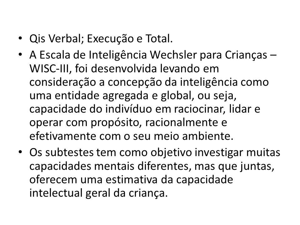 Qis Verbal; Execução e Total. A Escala de Inteligência Wechsler para Crianças – WISC-III, foi desenvolvida levando em consideração a concepção da inte