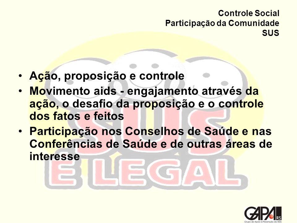 Controle Social Participação da Comunidade SUS Ação, proposição e controle Movimento aids - engajamento através da ação, o desafio da proposição e o c