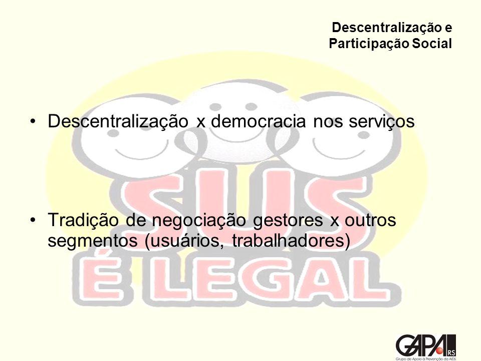 Descentralização e Participação Social Descentralização x democracia nos serviços Tradição de negociação gestores x outros segmentos (usuários, trabal