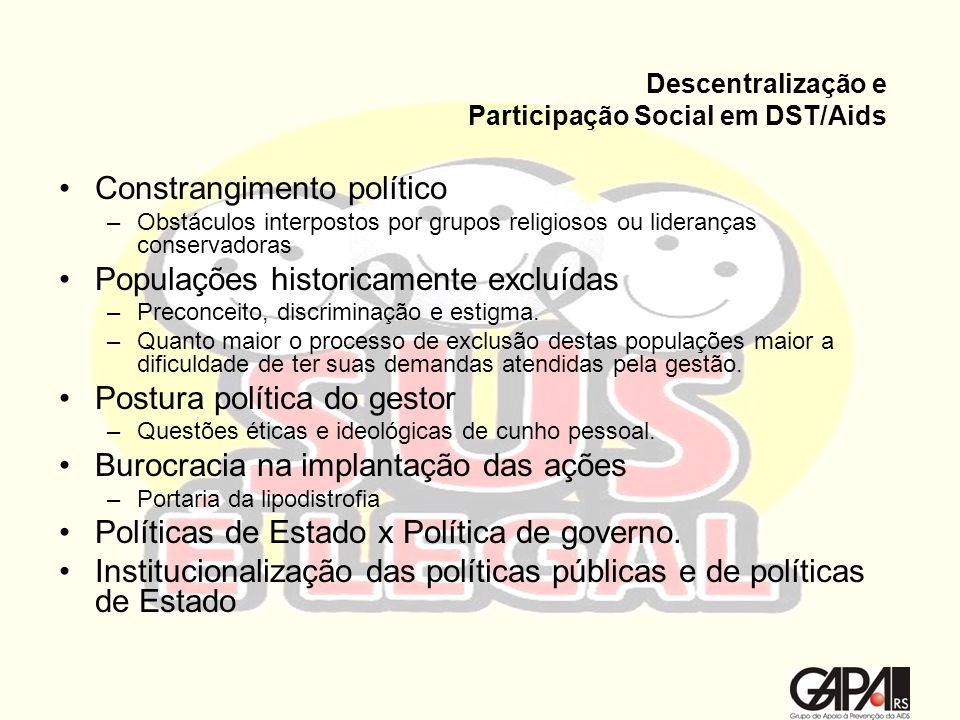 Descentralização e Participação Social em DST/Aids Constrangimento político –Obstáculos interpostos por grupos religiosos ou lideranças conservadoras