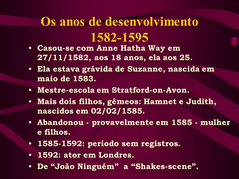 Os anos de desenvolvimento 1582-1595 Casou-se com Anne Hatha Way em 27/11/1582, aos 18 anos, ela aos 25.