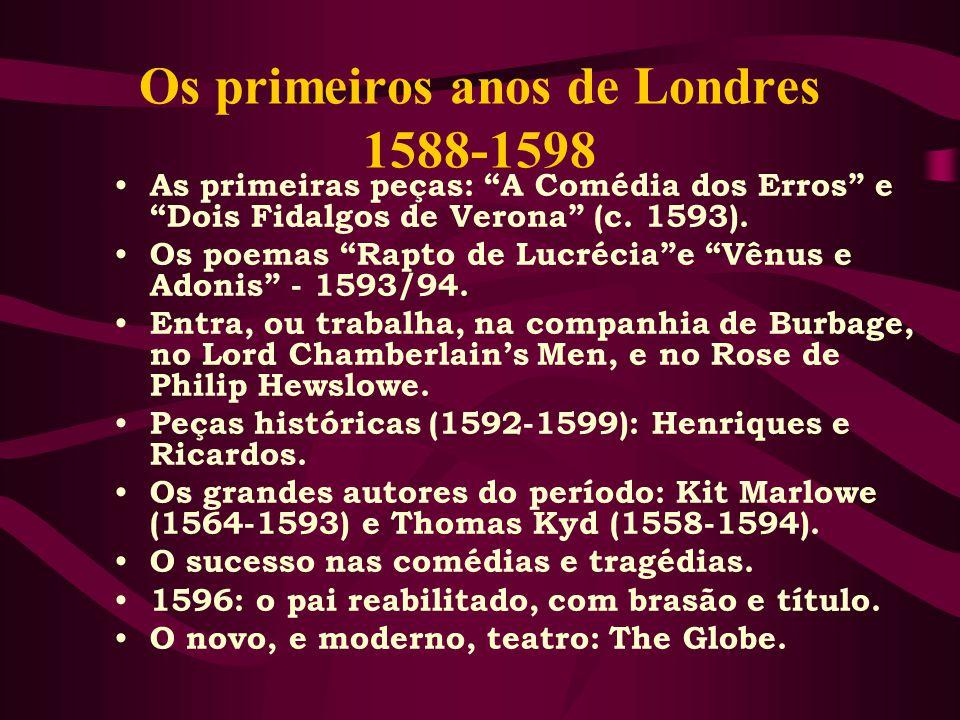 Os primeiros anos de Londres 1588-1598 As primeiras peças: A Comédia dos Erros e Dois Fidalgos de Verona (c.