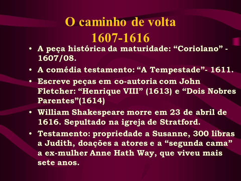 O caminho de volta 1607-1616 A peça histórica da maturidade: Coriolano - 1607/08.