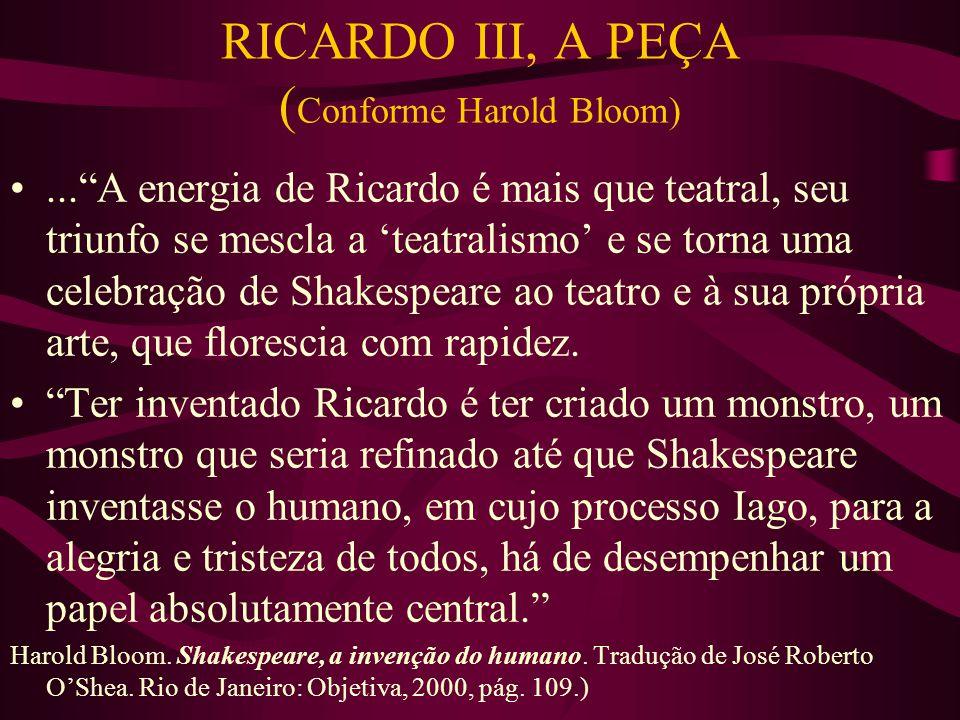 RICARDO III, A PEÇA ( Conforme Harold Bloom)... A energia de Ricardo é mais que teatral, seu triunfo se mescla a 'teatralismo' e se torna uma celebração de Shakespeare ao teatro e à sua própria arte, que florescia com rapidez.
