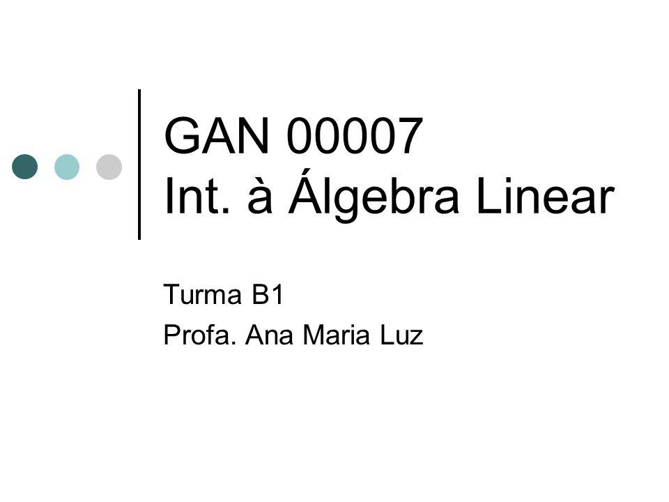 GAN 00007 Int. à Álgebra Linear Turma B1 Profa. Ana Maria Luz
