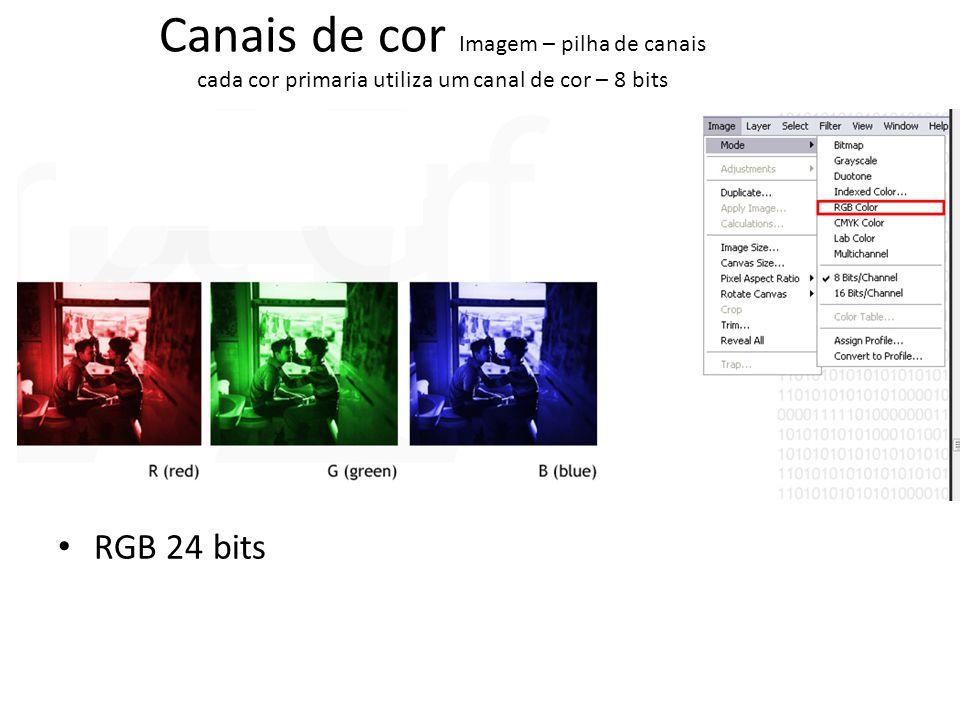 Canais de cor Imagem – pilha de canais cada cor primaria utiliza um canal de cor – 8 bits CMYK 32 bits