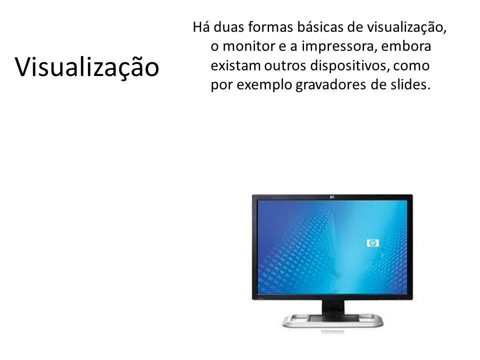 O monitor utiliza o sistema RGB e possui um número determinado de pixéis na horizontal e na vertical.