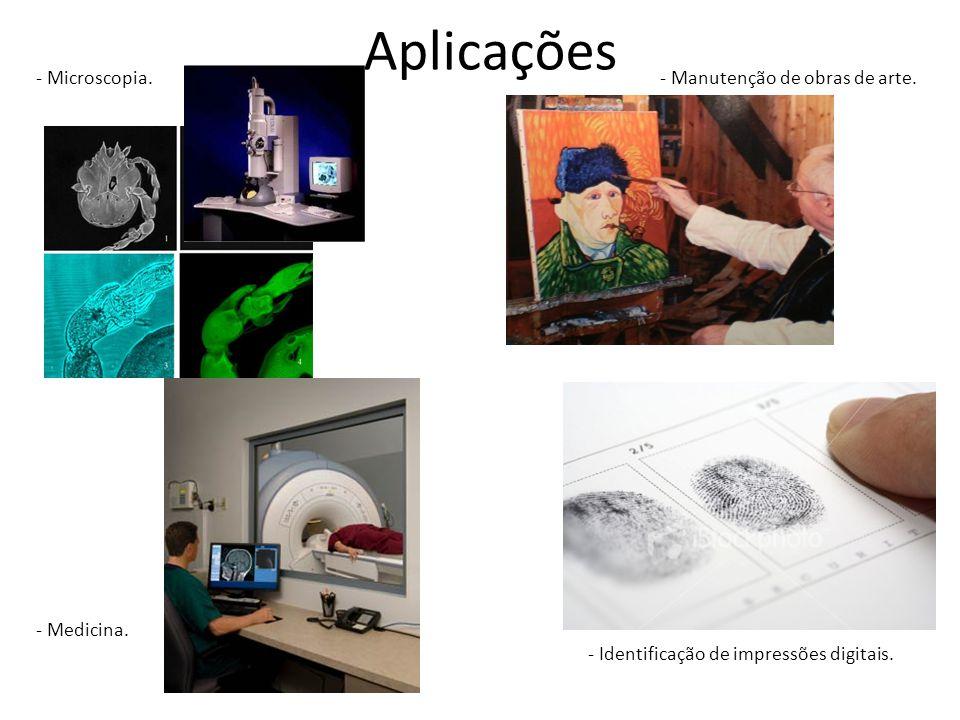 Aplicações - Microscopia.- Medicina. - Manutenção de obras de arte.