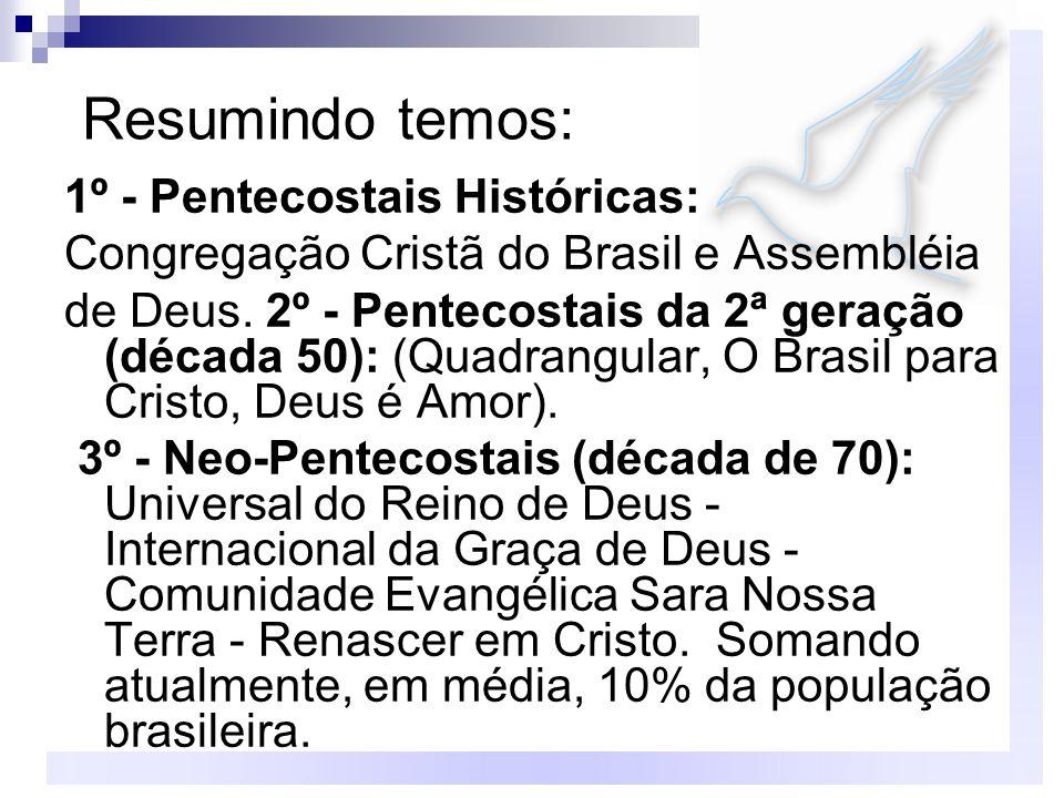 Resumindo temos: 1º - Pentecostais Históricas: Congregação Cristã do Brasil e Assembléia de Deus. 2º - Pentecostais da 2ª geração (década 50): (Quadra