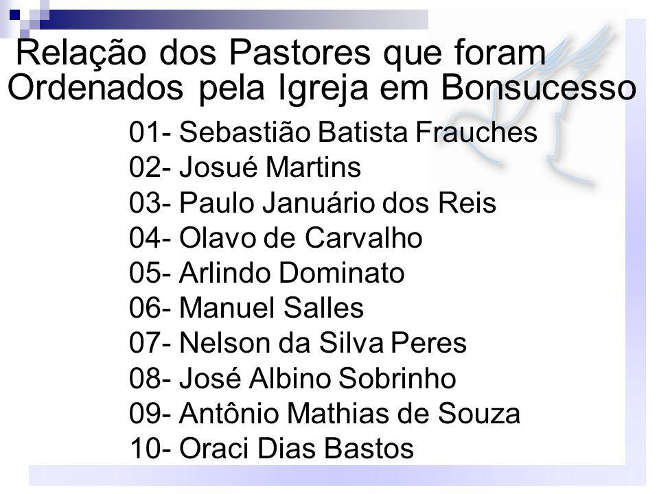 01- Sebastião Batista Frauches 02- Josué Martins 03- Paulo Januário dos Reis 04- Olavo de Carvalho 05- Arlindo Dominato 06- Manuel Salles 07- Nelson d