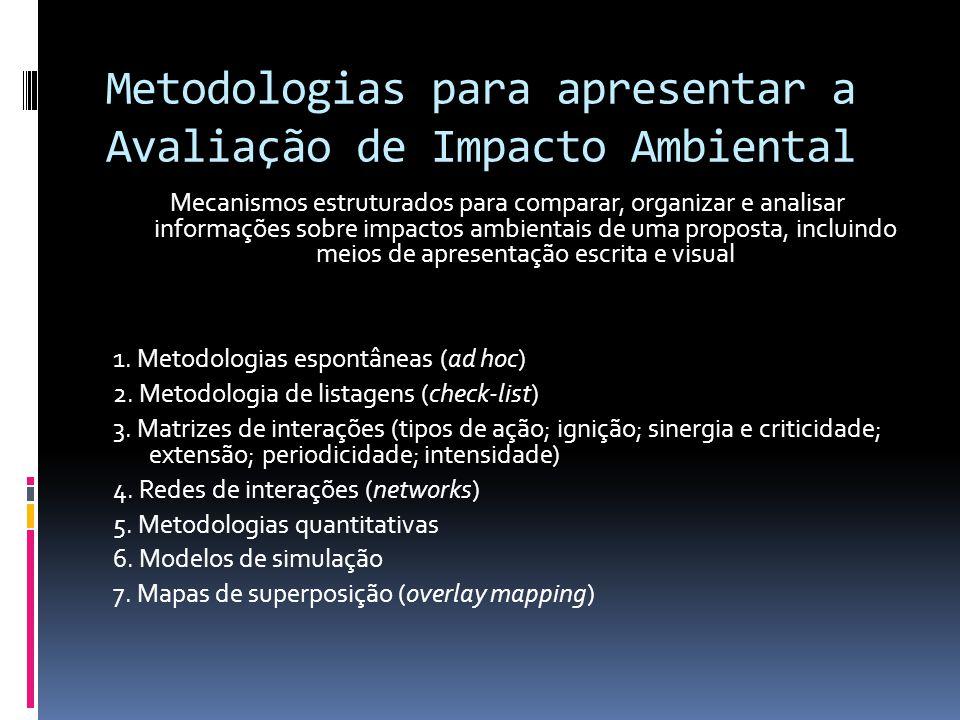 Metodologias para apresentar a Avaliação de Impacto Ambiental Mecanismos estruturados para comparar, organizar e analisar informações sobre impactos ambientais de uma proposta, incluindo meios de apresentação escrita e visual 1.
