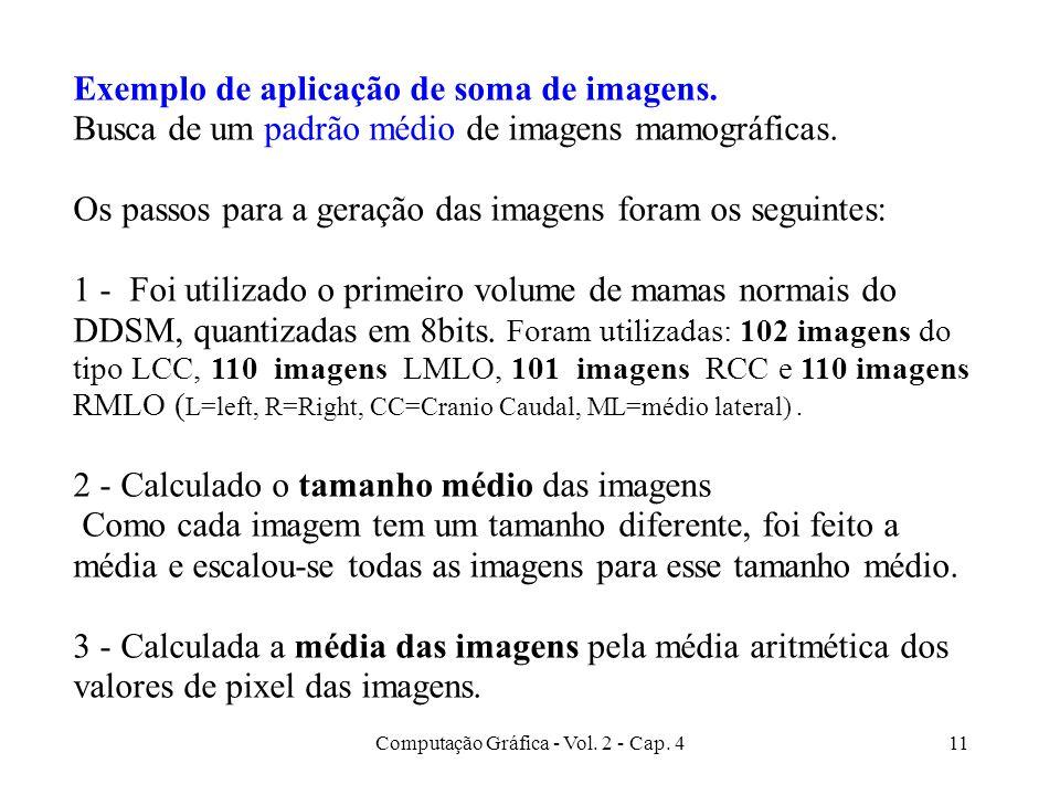 Computação Gráfica - Vol. 2 - Cap. 411 Exemplo de aplicação de soma de imagens. Busca de um padrão médio de imagens mamográficas. Os passos para a ger
