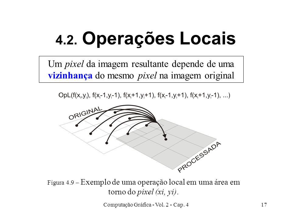 Computação Gráfica - Vol. 2 - Cap. 417 4.2. Operações Locais Um pixel da imagem resultante depende de uma vizinhança do mesmo pixel na imagem original