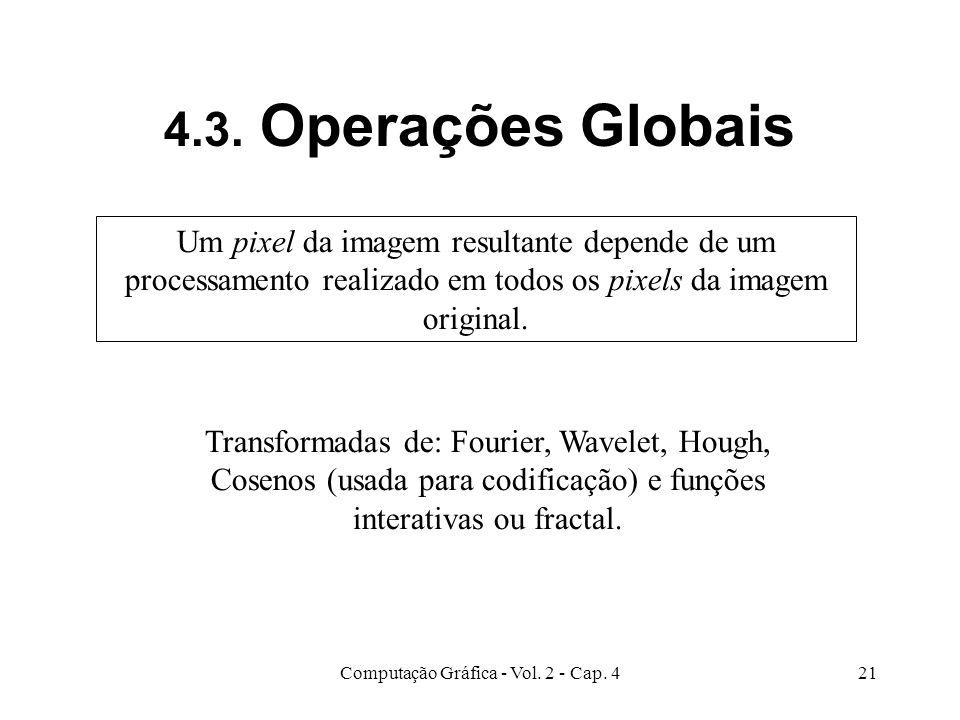 Computação Gráfica - Vol. 2 - Cap. 421 4.3. Operações Globais Um pixel da imagem resultante depende de um processamento realizado em todos os pixels d