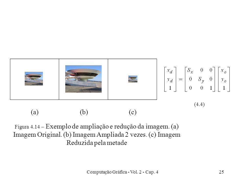 Computação Gráfica - Vol. 2 - Cap. 425 (4.4) (a)(b)(c) Figura 4.14 – Exemplo de ampliação e redução da imagem. (a) Imagem Original. (b) Imagem Ampliad