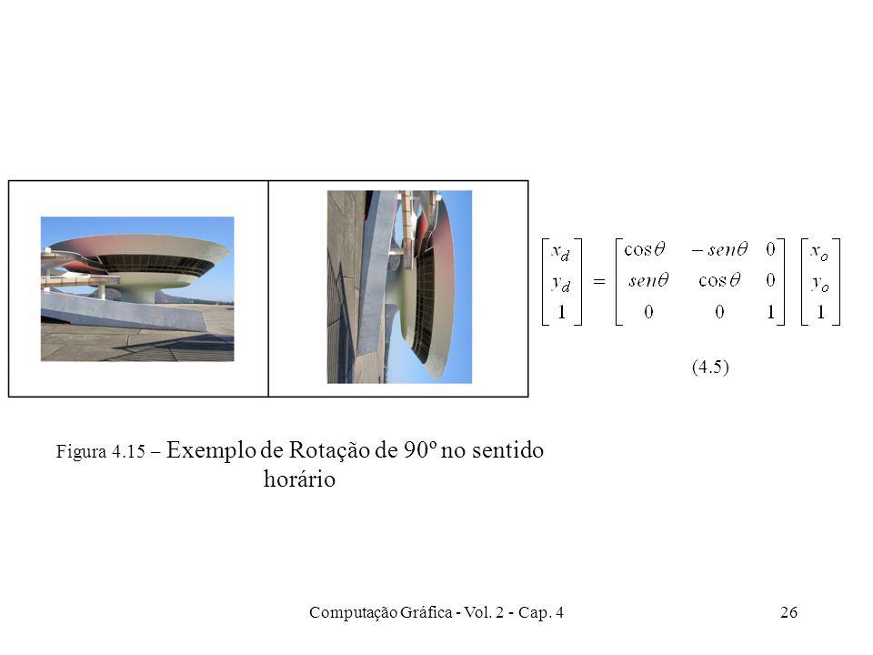 Computação Gráfica - Vol. 2 - Cap. 426 Figura 4.15 – Exemplo de Rotação de 90º no sentido horário (4.5)
