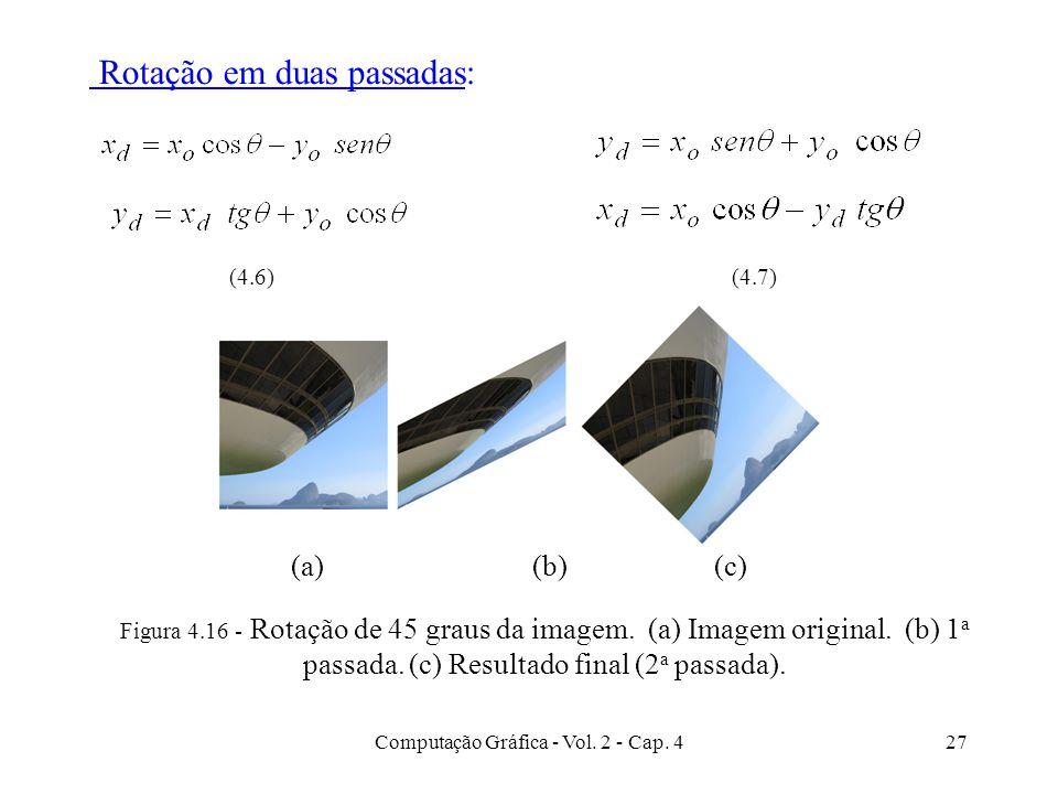 Computação Gráfica - Vol. 2 - Cap. 427 Figura 4.16 - Rotação de 45 graus da imagem. (a) Imagem original. (b) 1 a passada. (c) Resultado final (2 a pas