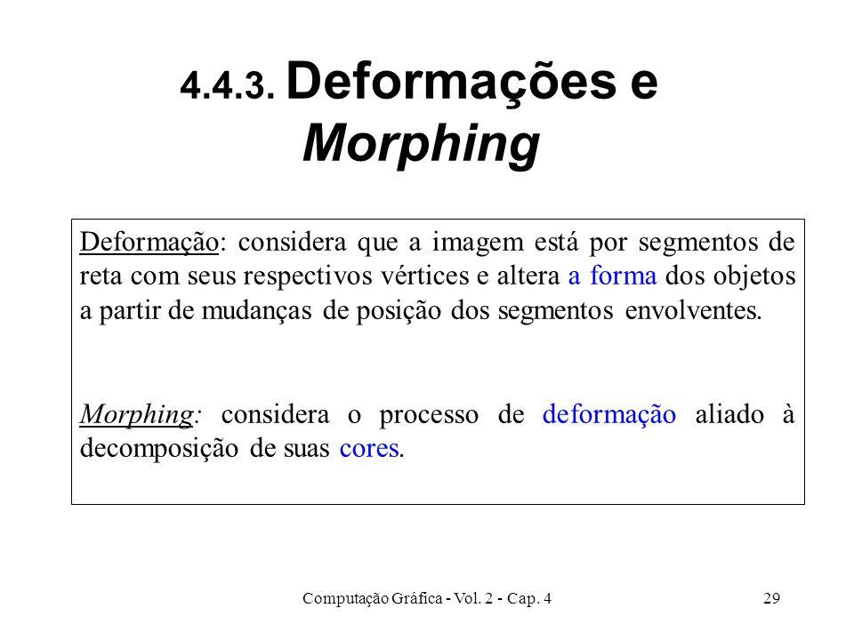 Computação Gráfica - Vol. 2 - Cap. 429 4.4.3. Deformações e Morphing Deformação: considera que a imagem está por segmentos de reta com seus respectivo