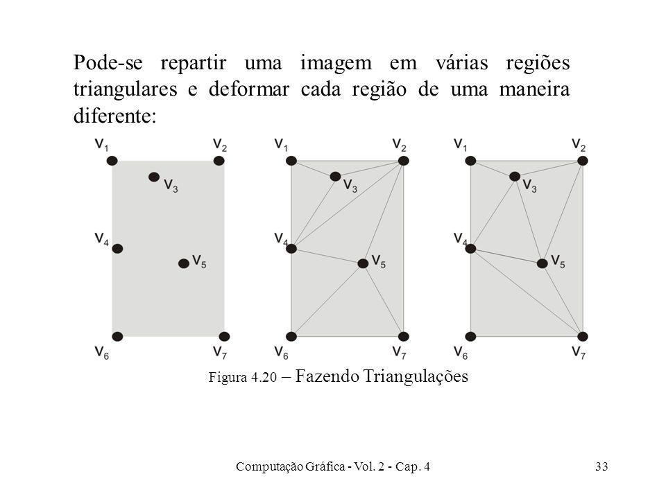 Computação Gráfica - Vol. 2 - Cap. 433 Figura 4.20 – Fazendo Triangulações Pode-se repartir uma imagem em várias regiões triangulares e deformar cada