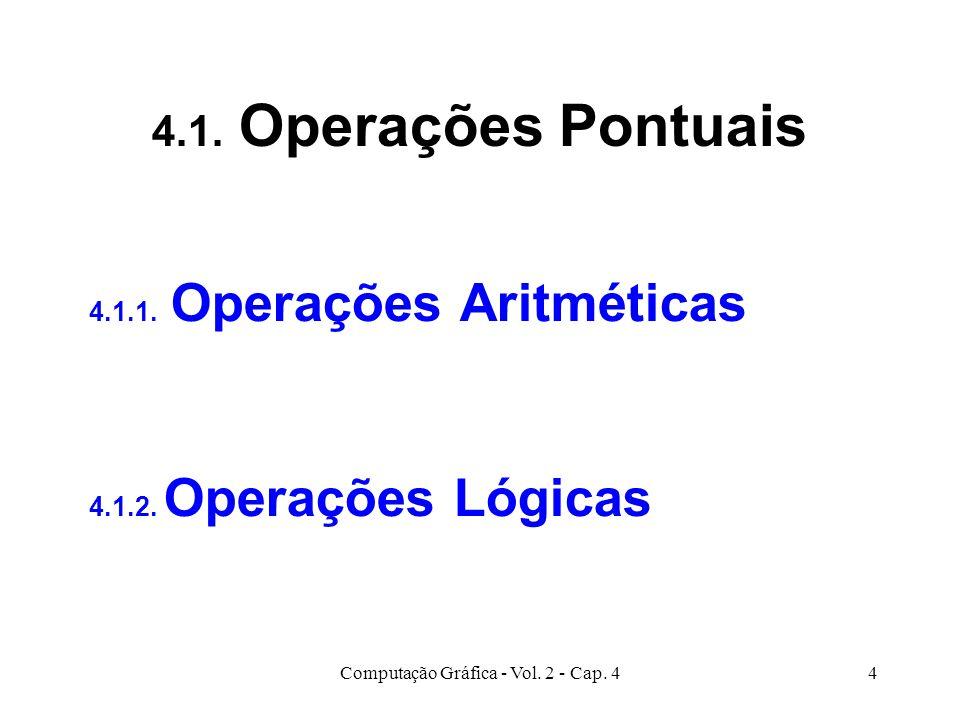 Computação Gráfica - Vol. 2 - Cap. 44 4.1. Operações Pontuais 4.1.1. Operações Aritméticas 4.1.2. Operações Lógicas