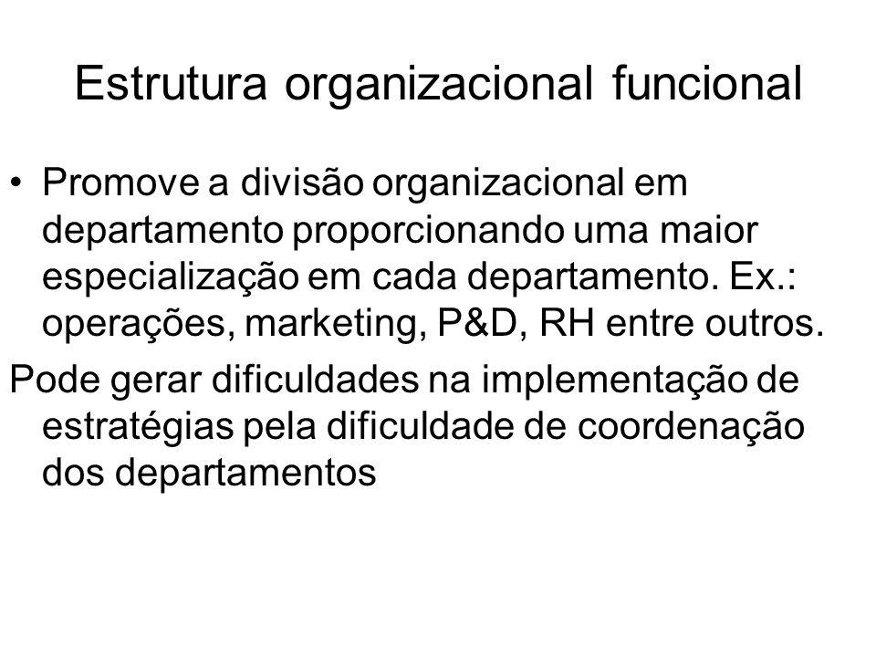 Estrutura organizacional funcional Promove a divisão organizacional em departamento proporcionando uma maior especialização em cada departamento. Ex.: