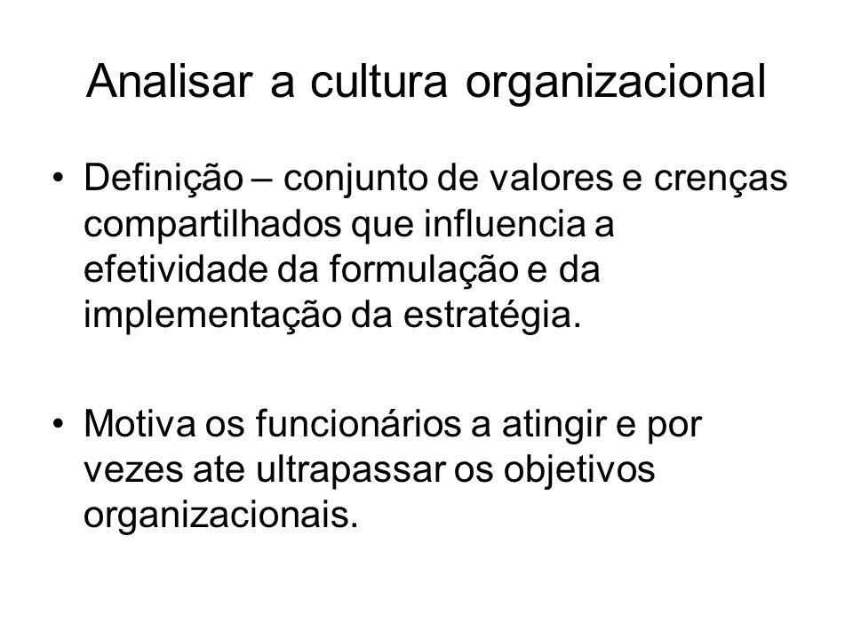 Analisar a cultura organizacional Definição – conjunto de valores e crenças compartilhados que influencia a efetividade da formulação e da implementaç
