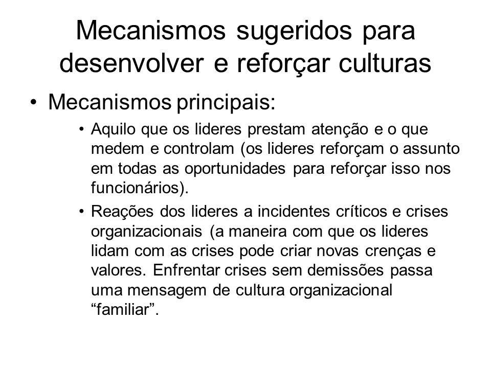 Mecanismos sugeridos para desenvolver e reforçar culturas Mecanismos principais: Aquilo que os lideres prestam atenção e o que medem e controlam (os l