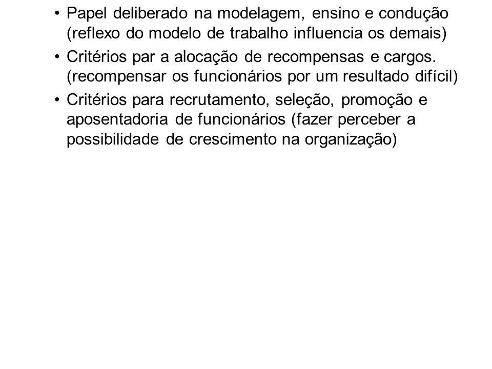 Papel deliberado na modelagem, ensino e condução (reflexo do modelo de trabalho influencia os demais) Critérios par a alocação de recompensas e cargos