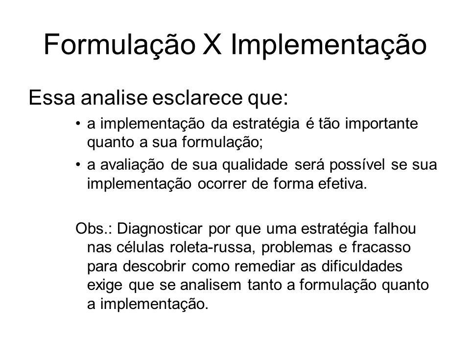 Formulação X Implementação Essa analise esclarece que: a implementação da estratégia é tão importante quanto a sua formulação; a avaliação de sua qual
