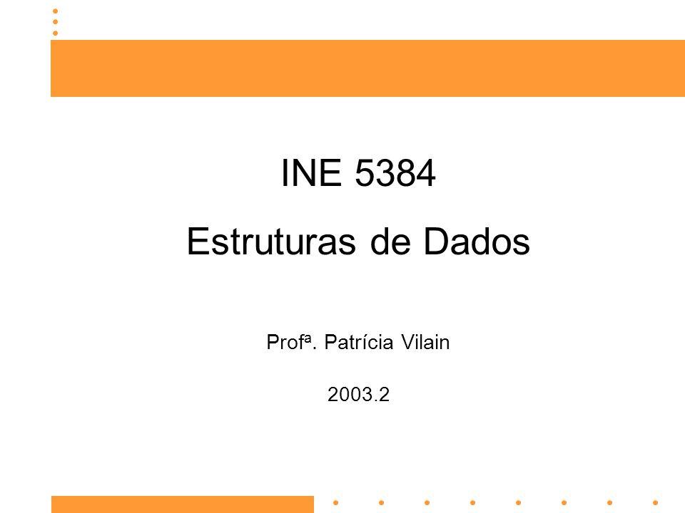 INE 5384 Estruturas de Dados Prof a. Patrícia Vilain 2003.2