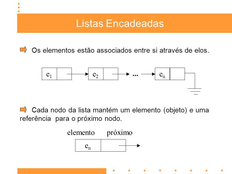 Listas Encadeadas Os elementos estão associados entre si através de elos.