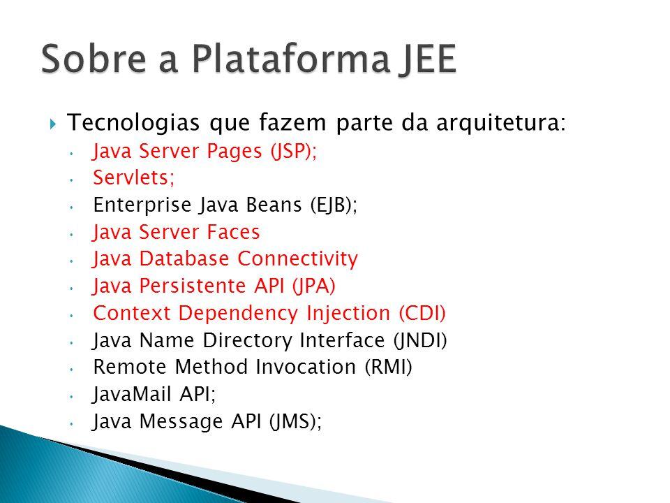 Tecnologias que fazem parte da arquitetura: Java Server Pages (JSP); Servlets; Enterprise Java Beans (EJB); Java Server Faces Java Database Connecti