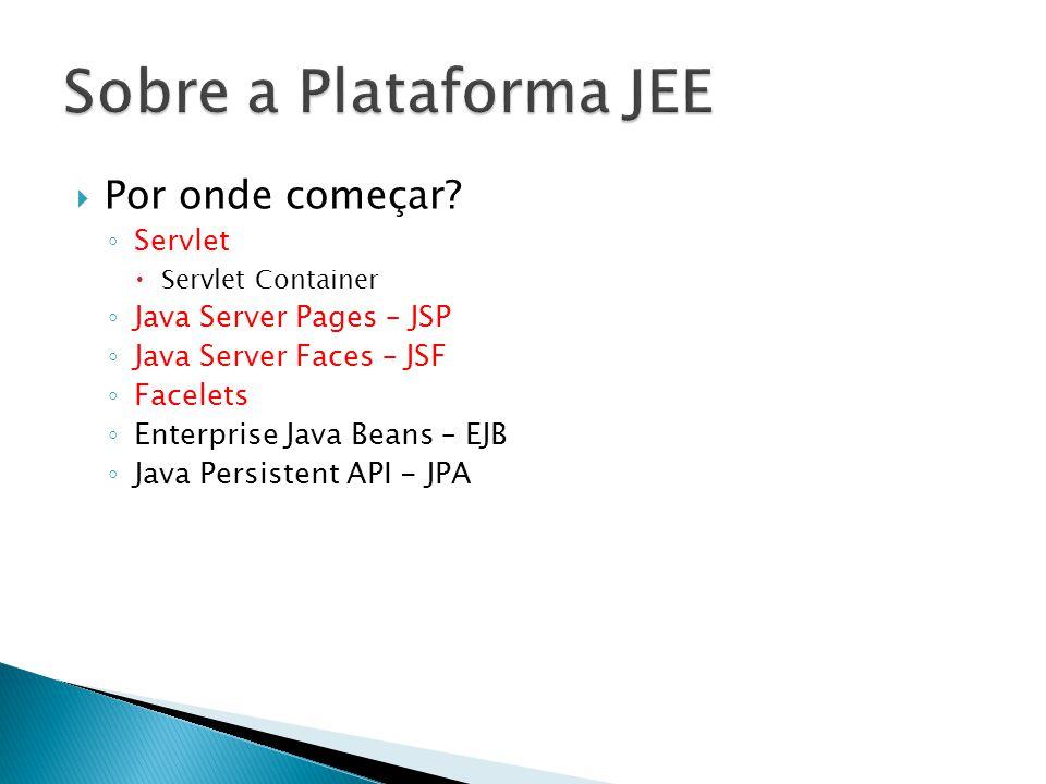  Por onde começar? ◦ Servlet  Servlet Container ◦ Java Server Pages – JSP ◦ Java Server Faces – JSF ◦ Facelets ◦ Enterprise Java Beans – EJB ◦ Java