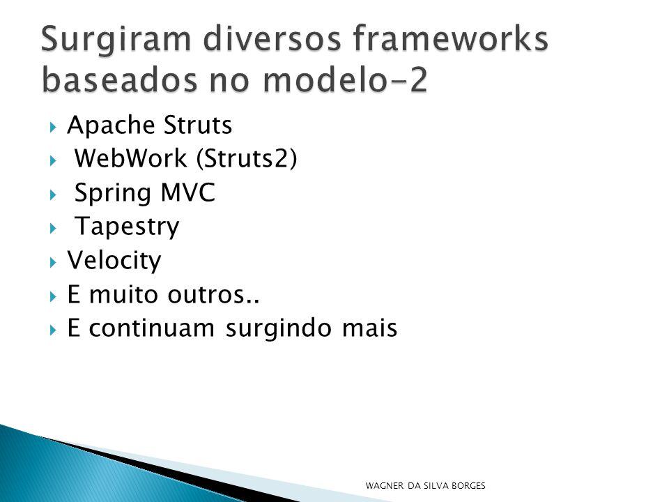  Apache Struts  WebWork (Struts2)  Spring MVC  Tapestry  Velocity  E muito outros..  E continuam surgindo mais WAGNER DA SILVA BORGES