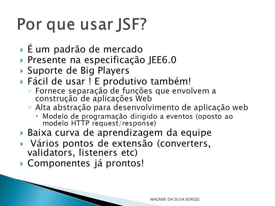  É um padrão de mercado  Presente na especificação JEE6.0  Suporte de Big Players  Fácil de usar ! E produtivo também! ◦ Fornece separação de funç