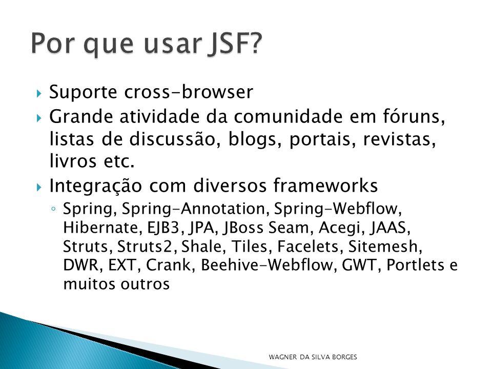  Suporte cross-browser  Grande atividade da comunidade em fóruns, listas de discussão, blogs, portais, revistas, livros etc.  Integração com divers