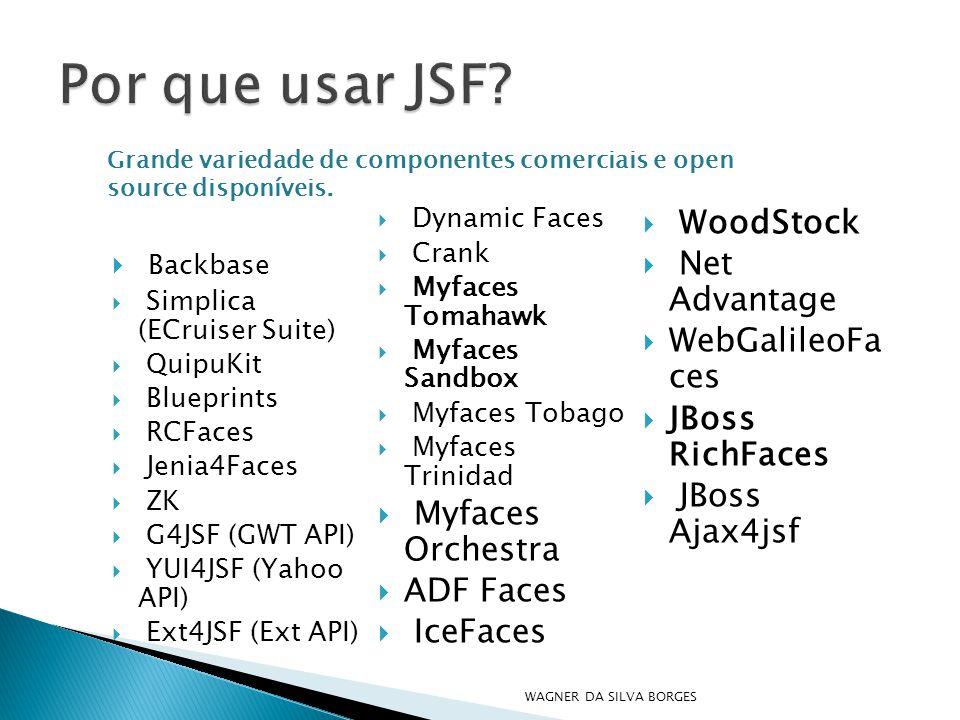  Backbase  Simplica (ECruiser Suite)  QuipuKit  Blueprints  RCFaces  Jenia4Faces  ZK  G4JSF (GWT API)  YUI4JSF (Yahoo API)  Ext4JSF (Ext API