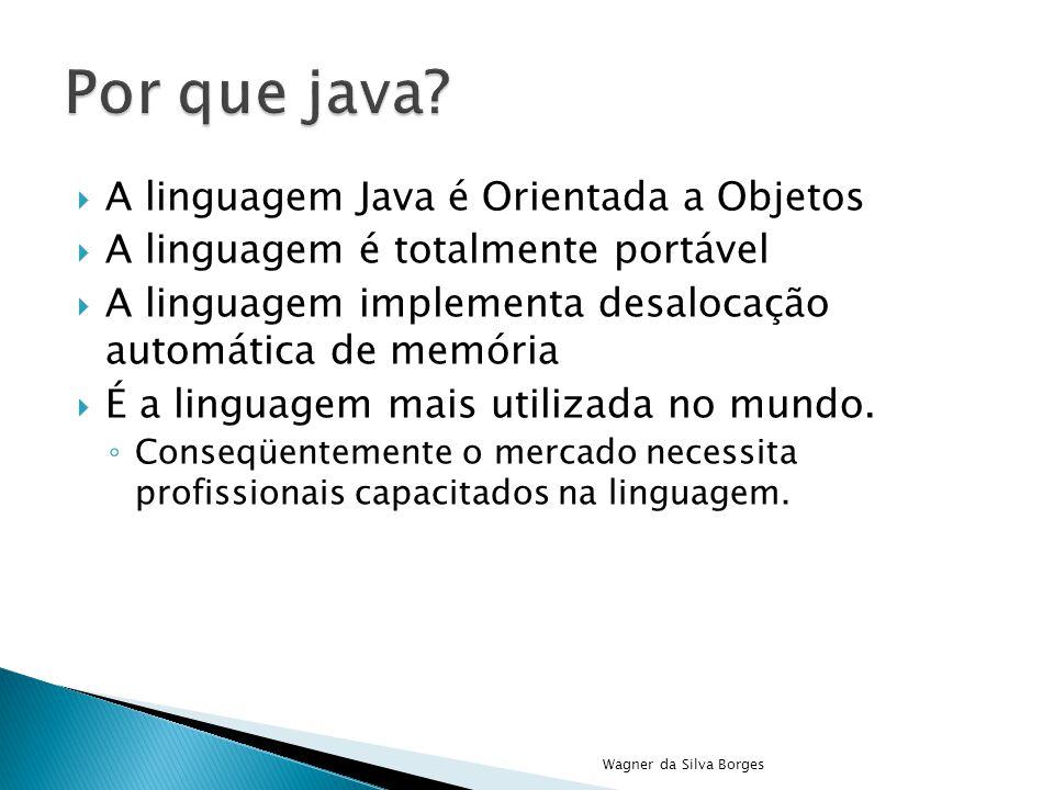  A linguagem Java é Orientada a Objetos  A linguagem é totalmente portável  A linguagem implementa desalocação automática de memória  É a linguage